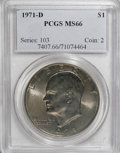 Eisenhower Dollars: , 1971-D $1 MS66 PCGS. PCGS Population (690/15). NGC Census: (518/36). Mintage: 68,587,424. Numismedia Wsl. Price for NGC/PCG...