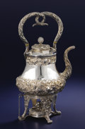 Silver Holloware, American:Hot Water Kettles , AN AMERICAN SILVER HOT WATER KETTLE ON STAND. S. Kirk & Son,Baltimore, Maryland, circa 1880-1890. Marks: S. Kirk & Son,1...