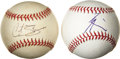 Autographs:Baseballs, Curt Shilling and Kei Igawa Single Signed Baseballs Lot of 2. Twopowerful major league pitchers have added their signatures...