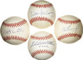 Autographs:Baseballs, 500 Home Run Club Single Signed Baseballs Lot of 4. Each of the menwho have checked in here have made their mark on the ga...