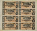 Confederate Notes:1864 Issues, T68 $10 1864 Uncut Sheet of Eight.. ...