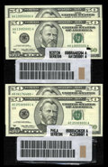 Small Size:Group Lots, $50 Federal Reserve Note Label Sets Part One. Three Examples. Crisp Uncirculated.. ... (Total: 6 notes)