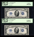Small Size:Silver Certificates, Fr. 1701 $10 1934 Mule Silver Certificates. Two Consecutive Examples. PCGS Gem New 66PPQ & Very Choice New 64PPQ.. ... (Total: 2 notes)