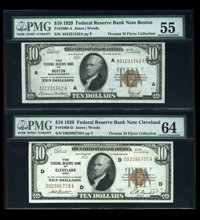 Fr. 1860-A $10 1929 Federal Reserve Bank Note PMG Abt Unc 55 Fr. 1960-D $10 1929 Federal Reserve Bank Note PMG Choice Un...