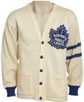 Hockey Collectibles:Uniforms, 1958-59 Johnny Bower Toronto Maple Leafs Cardigan Sweater....