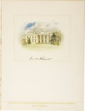 Autographs:U.S. Presidents, Franklin D. Roosevelt: Limited Edition White House Watercolor Lithograph Signed as President....