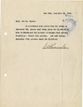 "Autographs:U.S. Presidents, Franklin D. Roosevelt: Typed Memo Signed ""F.D. Roosevelt""...."