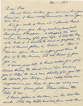 Autographs:Cut-outs, 1950 Earle Combs Signed Handwritten Letter. Written just after theclosing of the 1950 baseball season, this two-page handw...