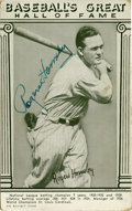 """Autographs:Post Cards, Rogers Hornsby Signed Postcard. This impressive card from the""""Baseball's Great Hall of Fame"""" series has been tagged with a..."""