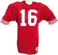 Football Collectibles:Uniforms, Circa 1990 Joe Montana Game Worn Jersey. Red mesh gamer dates from late in the Hall of Fame quarterback's tenure with the S...