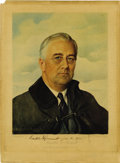 Autographs:U.S. Presidents, Franklin D. Roosevelt: Elizabeth Shoumatoff Print Signed as President....