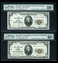 Small Size:Federal Reserve Bank Notes, Fr. 1870-A $20 1929 FRBN PMG Ch AU 58 EPQ. Fr. 1870-E $20 1929 FRBN PMG EF 40 EPQ. Fr. 1870-F $20 1929 FRBN PMG Ch AU 58. Fr. ... (Total: 5 notes)