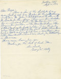 Autographs:Letters, 1970 George Kelly Signed Handwritten Letter. The Hall of Fame New York Giants star of the 1920s George Kelly here has a cha...