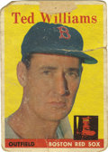 Baseball Cards:Singles (1950-1959), 1958 Topps Ted Williams #1. Tattered and abused example of the HOF great's 1958 Topps baseball card. Ted Williams remains n...