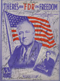 Autographs:U.S. Presidents, Franklin D. Roosevelt Patriotic Sheet Music Signed by Over Fifty Entertainers....