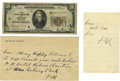 Autographs:U.S. Presidents, Franklin D. Roosevelt: Autograph Note and Envelope Signed asPresident and $20 Bill.... (Total: 3 Items)