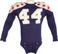 Football Collectibles:Uniforms, Mid-1940's College All-Star Game Worn Jersey with George Halas Signed Letter. Arresting blue durene jersey is the true embo...