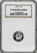 Proof Roosevelt Dimes: , 1959 10C PR68 Deep Cameo NGC. NGC Census: (14/2). PCGS Population(24/3). Numismedia Wsl. Price for NGC/PCGS coin in PR68:...