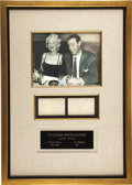 Autographs:Others, Circa 1954 Joe DiMaggio & Marilyn Monroe Signed Pages Display.Almost certainly dating from this ultimate celebrity couple'...