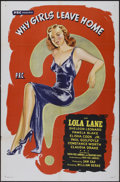 "Movie Posters:Crime, Why Girls Leave Home (PRC, 1945). One Sheet (27"" X 41""). Crime...."