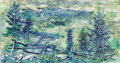 Fine Art - Painting, American:Modern  (1900 1949)  , GEORGE GROSZ (German, 1893-1959). Bavarian Forest.Watercolor on paper. 12-3/4 x 24 inches (32.4 x 61.0 cm). Signedlowe...