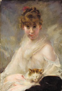 CHARLES CHAPLIN (French, 1825-1891) Portrait of Young Woman with Kitten Oil on canvas 29 x 19-3/4