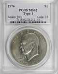 Eisenhower Dollars: , 1976 $1 Type One MS62 PCGS. PCGS Population (67/1799). NGC Census: (3/524). Mintage: 4,019,000. Numismedia Wsl. Price for N...