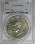 Eisenhower Dollars: , 1973 $1 MS65 PCGS. PCGS Population (767/72). NGC Census: (322/20). Mintage: 2,000,056. Numismedia Wsl. Price for NGC/PCGS c...