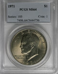 Eisenhower Dollars: , 1971 $1 MS64 PCGS. PCGS Population (1202/569). NGC Census: (403/571). Mintage: 47,799,000. Numismedia Wsl. Price for NGC/PC...