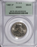 Susan B. Anthony Dollars: , 1981-P SBA$ MS65 PCGS. PCGS Population (494/279). NGC Census:(150/295). Mintage: 3,000,000. N...