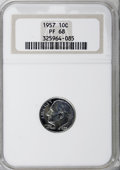 Proof Roosevelt Dimes: , 1957 10C PR68 NGC. NGC Census: (234/93). PCGS Population (137/10).Mintage: 1,247,952. Numismedia Wsl. Price for NGC/PCGS c...