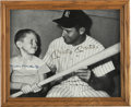 Autographs:Others, 1980's Mickey Mantle & Son Signed Check & Photograph....