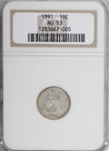 Seated Dimes: , 1891 10C AU53 NGC. NGC Census: (1/742). PCGS Population (5/698). Mintage: 15,310,600. Numismedia Wsl. Price for NGC/PCGS co...