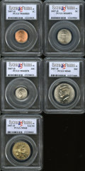 Lincoln Cents, 2007-D 1C Set of 5 Coins, Satin Finish MS68 Red PCGS. The Setincludes Lincoln Cent, Jefferson Nickel, Roosevelt Dime, Kenne...(Total: 5 Item)