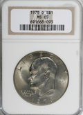 Eisenhower Dollars: , 1978-D $1 MS65 NGC. NGC Census: (2113/170). PCGS Population (677/238). Mintage: 33,012,890. Numismedia Wsl. Price for NGC/P...