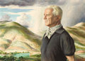 Fine Art - Painting, American:Contemporary   (1950 to present)  , PETER HURD (American, 1904-1984). Portrait of J. Noel Macy withLandscape Background, 1965. Egg tempera on gesso panel. ...