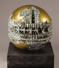 Sculpture, ARNALDO POMODORO (Italian, b. 1926). Piccolo Sfera, 1963. Bronze. 20 x 20 x 20 inches (50.8 x 50.8 x 50.8 cm). Weight: s...