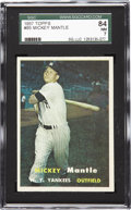 Baseball Cards:Singles (1950-1959), 1957 Topps Mickey Mantle #95 SGC 84 NM 7. The 1957 Topps issue wasthe first to feature true photography on each card and h...