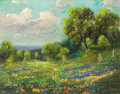 Texas:Early Texas Art - Impressionists, CARL THOMAS HOPPE (American, 1897-1981). Bluebonnets andPaintbrushes, 1965. Oil on canvas. 16 x 20 inches (40.6 x 50.8...