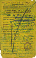 Autographs:U.S. Presidents, Franklin D. Roosevelt: Autograph Document Signed....