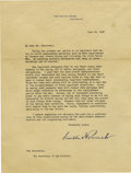 Autographs:U.S. Presidents, Franklin D. Roosevelt: Typed Letter Signed (Stamped) as President....