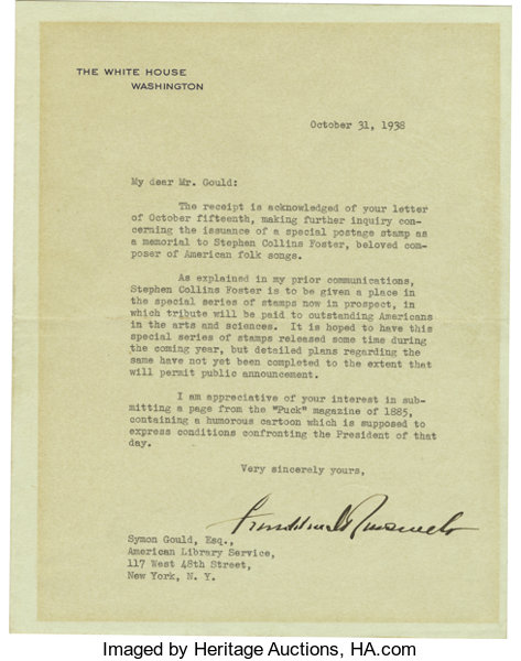 Franklin D Roosevelt Typed Letter Signed As President