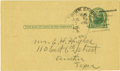 Western Expansion:Cowboy, Autographed Post Card John R. Hughes, Texas Ranger....