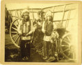 Western Expansion:Indian Artifacts, Imperial Size Photograph of Two Indians in Front of Conestoga Wagonca 1880s. ...