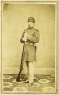 Western Expansion:Indian Artifacts, CDV Photograph of Infantry Soldier, Laramie City, Wyoming Territory, ca. late 1860s....