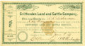 Western Expansion:Cowboy, Crittenden Land & Cattle Company Stock Certificate Tucson,Arizona Territory 1887. ...
