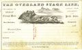 """Western Expansion:Goldrush, Large Blank Receipt for Ben Holladay's """"The Overland Stage Line"""" ca1860s - ..."""