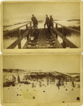 "Western Expansion:Goldrush, Two Cabinet Card Photographs ""Iron Mine"" Leadville, Colorado, ca.1880s.... (Total: 2 Items)"