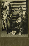 Western Expansion:Indian Artifacts, Cabinet Card Photograph Two Nez Perce Full Dressed Indians, ca. 1890s....
