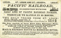 Western Expansion:Goldrush, Advertising Card Pacific Railroad St. Louis and St. Joseph 1858-...